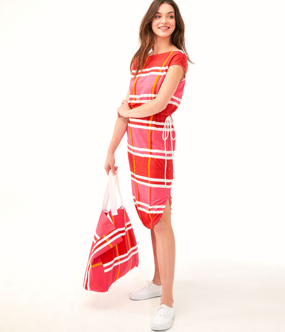 Women's Dress Geisha pink / Multico white