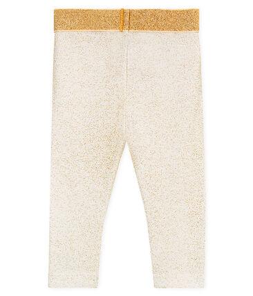 Baby girls' glittery leggings Marshmallow white / Copper pink