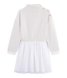 Girl's Long-sleeved Dress Marshmallow white / Or yellow