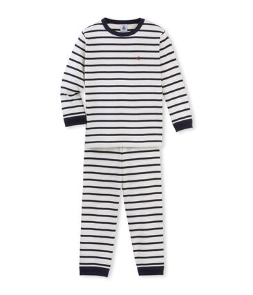 Boys' striped pyjamas Coquille beige / Smoking blue