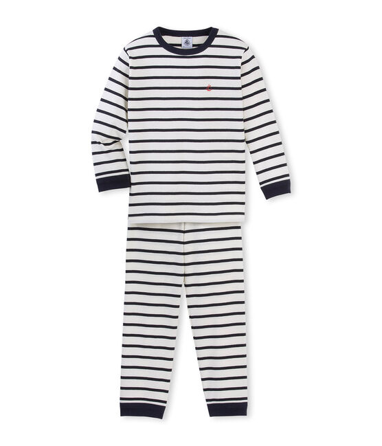 Boys' striped pyjamas Coquille beige / Smoking blue