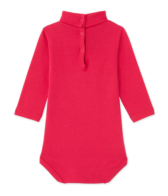 Baby roll neck bodysuit Flashy pink