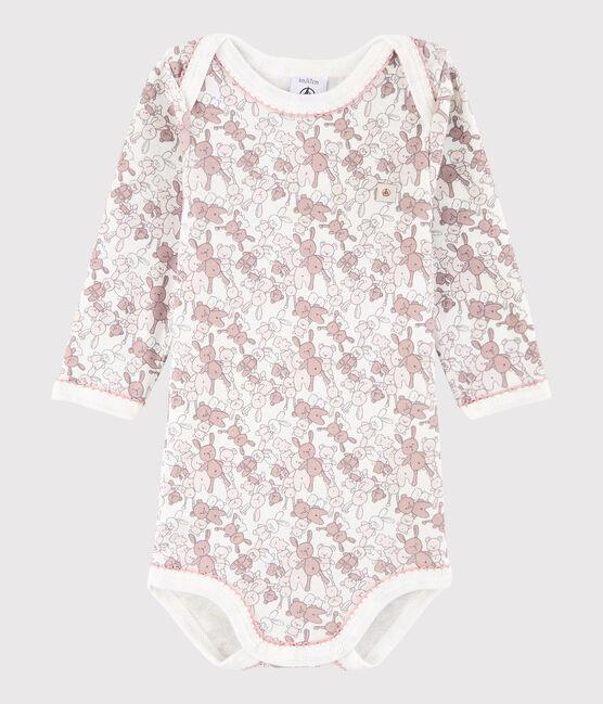 Baby Girls' Long-Sleeved Bodysuit Charme pink / Marshmallow white