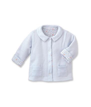 Unisex baby padded reversible milleraies jacket Fraicheur blue / Ecume white