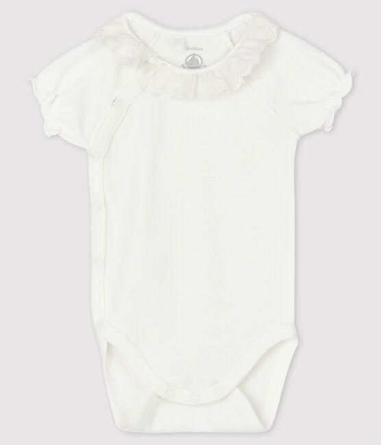 Baby Girls' White Short-Sleeved Organic Cotton Bodysuit with Collar Marshmallow white