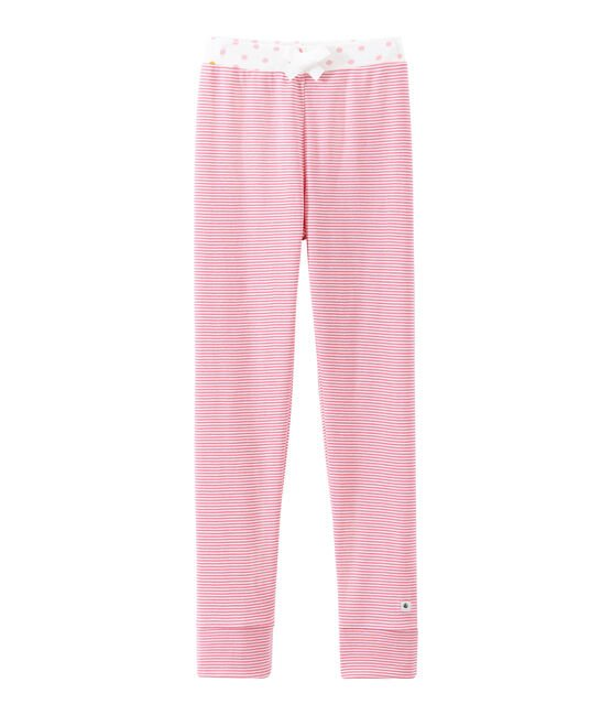 Little girl's pyjama bottoms Cheek pink / Marshmallow white