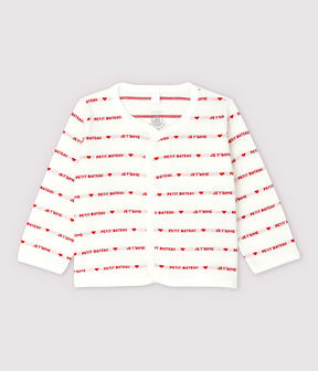 "Petit Bateau Babies' Organic Cotton Cardigan With Woven ""Je t'aime"" Marshmallow white / Terkuit red"