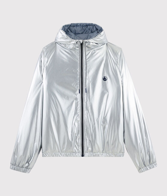 Women's/men's warm windbreaker made from recycled materials Argent grey