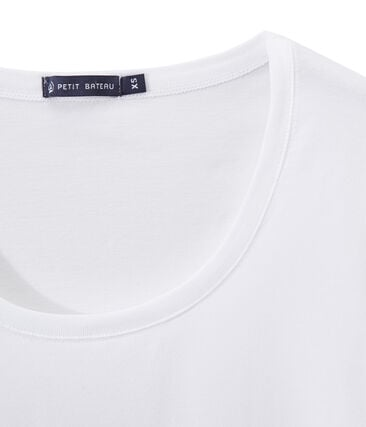 SCOOP NECK women's fine jersey tee Ecume white