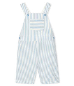 Baby Boys' Striped Short Dungarees Acier blue / Marshmallow white