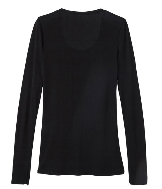 Women's fine rib knit T-shirt Noir black