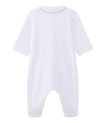 Baby's velour unisex sleepsuit Ecume white