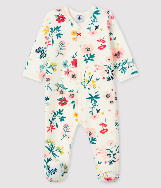 Baby Girls' Floral Print Velour Sleepsuit Marshmallow white / Multico white