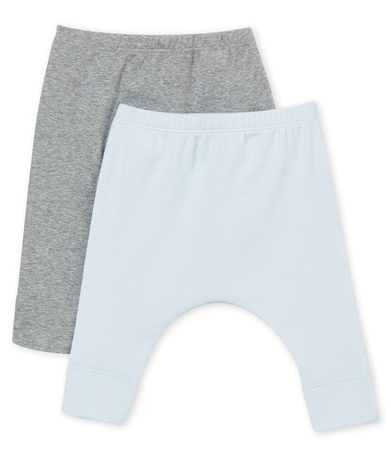 Unisex baby's set of two leggings in plain brushed soft cotton . set