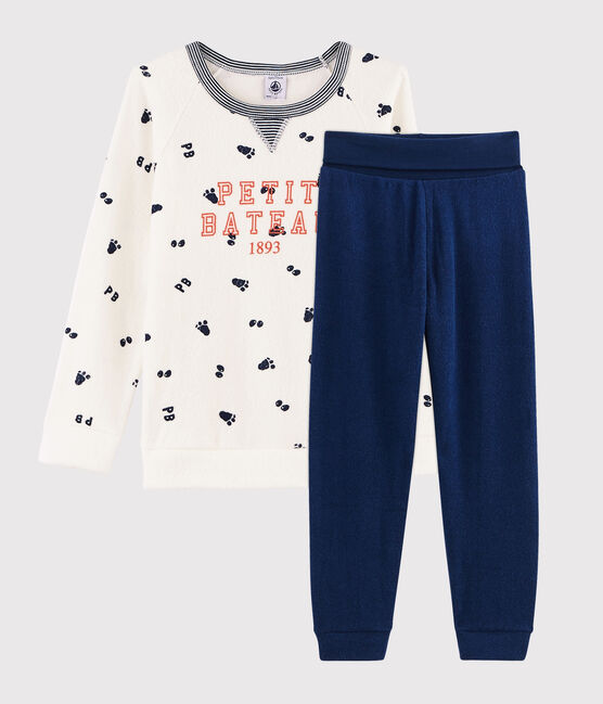 Boys' High-Rise Pyjamas in Brushed Terry Marshmallow white / Medieval blue