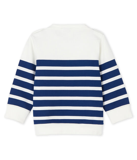 Baby boys' striped sweatshirt Marshmallow white / Medieval blue
