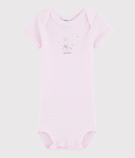 Unisex Babies' Short-Sleeved Bodysuit Doll pink / Ecume white