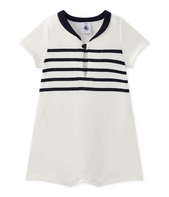 Baby boy's short-sleeved romper Marshmallow white / Smoking blue
