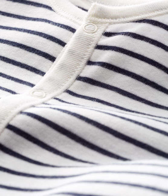 Babies' Stripy Organic Cotton Jumpsuit/Sleeping Bag Marshmallow white / Smoking blue