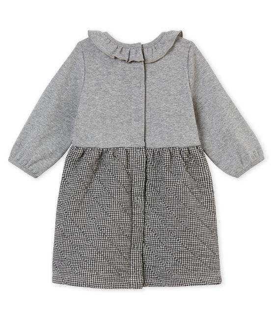 Baby girl's dual fabric dress Subway grey / Multico white