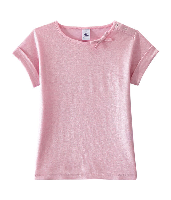 Girl's T-shirt Babylone pink / Argent grey