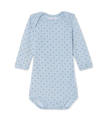 Baby boys' long-sleeved bodysuit in wool and cotton Fraicheur blue / Tempete grey