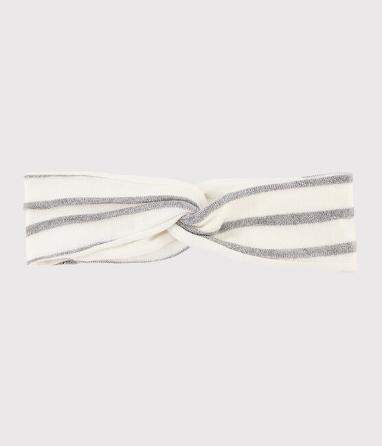 Baby girl's striped headband Marshmallow white / Argent grey
