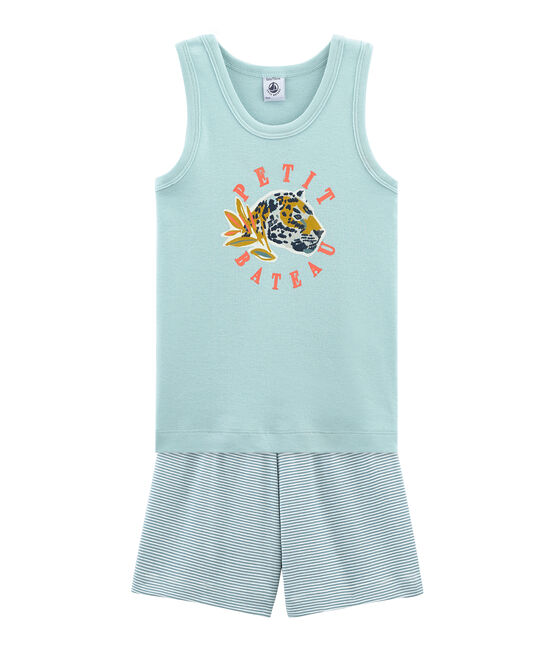 Boys' short Pyjamas Fontaine blue / Marshmallow white