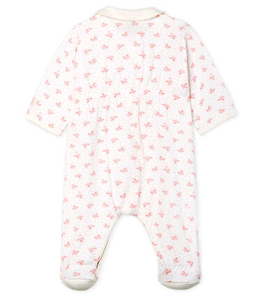 Baby Girls' Tube Knit Sleepsuit Marshmallow white / Gretel pink