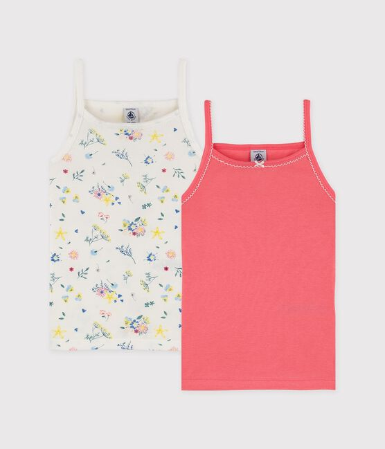 Girls' Floral Print Strappy Tops . set