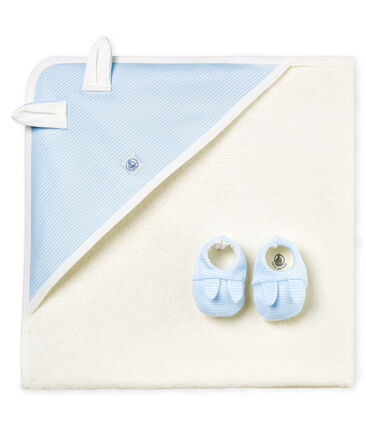 Unisex baby square bath towel and bootees