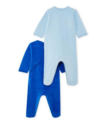 Set of 2 baby girl's velour sleepsuits