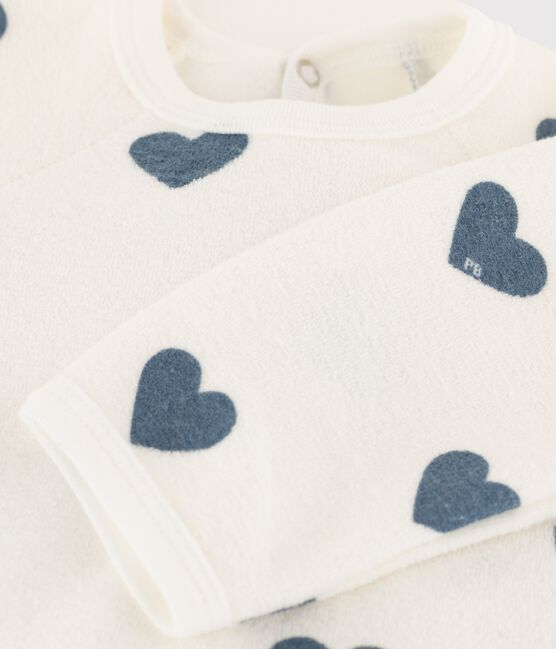 Babies' Sleepsuit in Extra Warm Brushed Towelling Marshmallow white / Astro blue