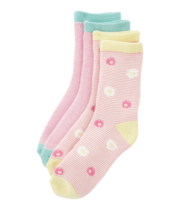 Set of 2 pairs of socks for girls Marshmallow:smoking blue / Marshmallo white