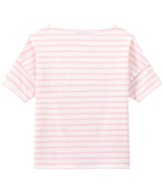 Women's jersey short-sleeve sailor top Marshmallow white / Babylone pink