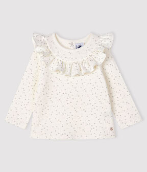 Baby girl's long-sleeved blouse Marshmallow white / Argent grey