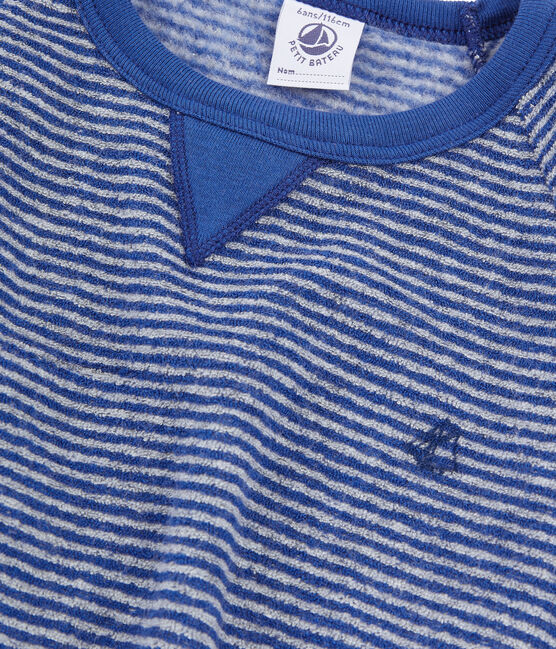 Boys' Pyjamas in Extra Warm Brushed Terry Towelling Major blue / Subway grey