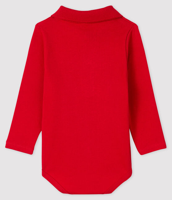 Baby's long-sleeved bodysuit with polo neck Terkuit red