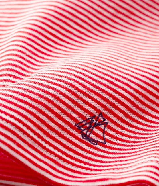Baby boys' pinstriped T-shirt Peps red / Marshmallow white