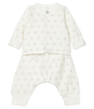 Unisex Baby's Tube Knit Clothing - 2-Piece Set Marshmallow white / Perlin beige