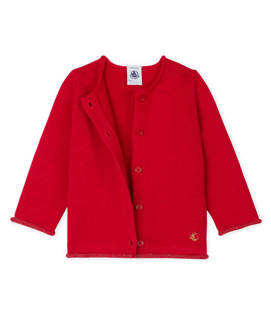 Baby Girls' Wool/Cotton Knit Basic Cardigan Terkuit red