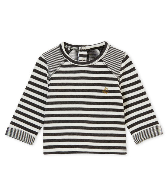 Baby boy's striped T-shirt City black / Marshmallow white