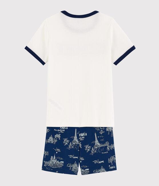 Boys' Toile de Jouy Paris Cotton Short Pyjamas Medieval blue / Multico white
