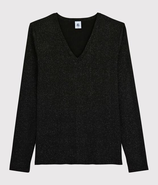 Women's iconic V-neck T-shirt NOIR/ARGENT