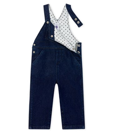 Unisex Baby's Long Denim Look Dungarees Jean blue