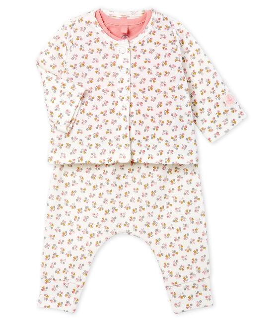 Baby Girls' Ribbed Clothing - 3-piece set Marshmallow white / Multico white