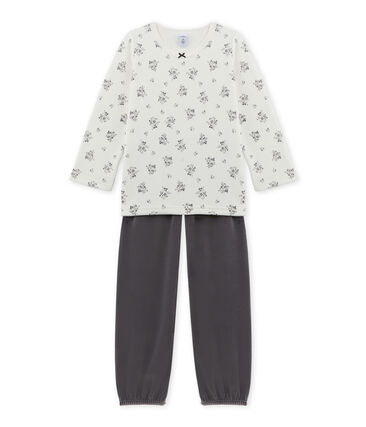 Girl's terry velour pyjamas Maki grey / Lait white