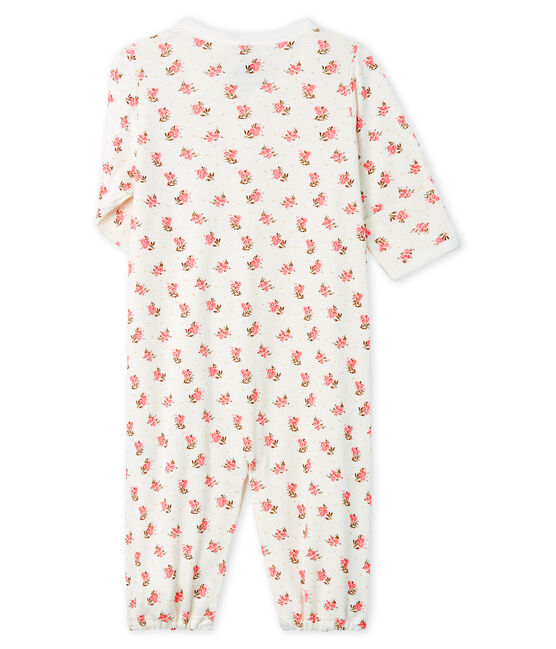 Babies' Ribbed Jumpsuit/Sleeping Bag Marshmallow white / Gretel pink