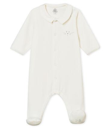 Unisex baby's plain cotton velour sleepsuit Marshmallow white