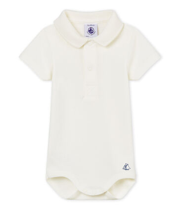 Baby boys' plain bodysuit with polo shirt collar Marshmallow Cn white